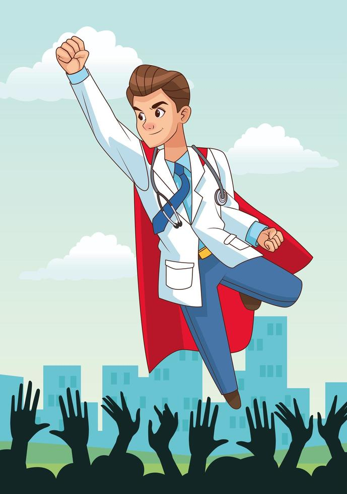 super dokter en juichende mensen vector