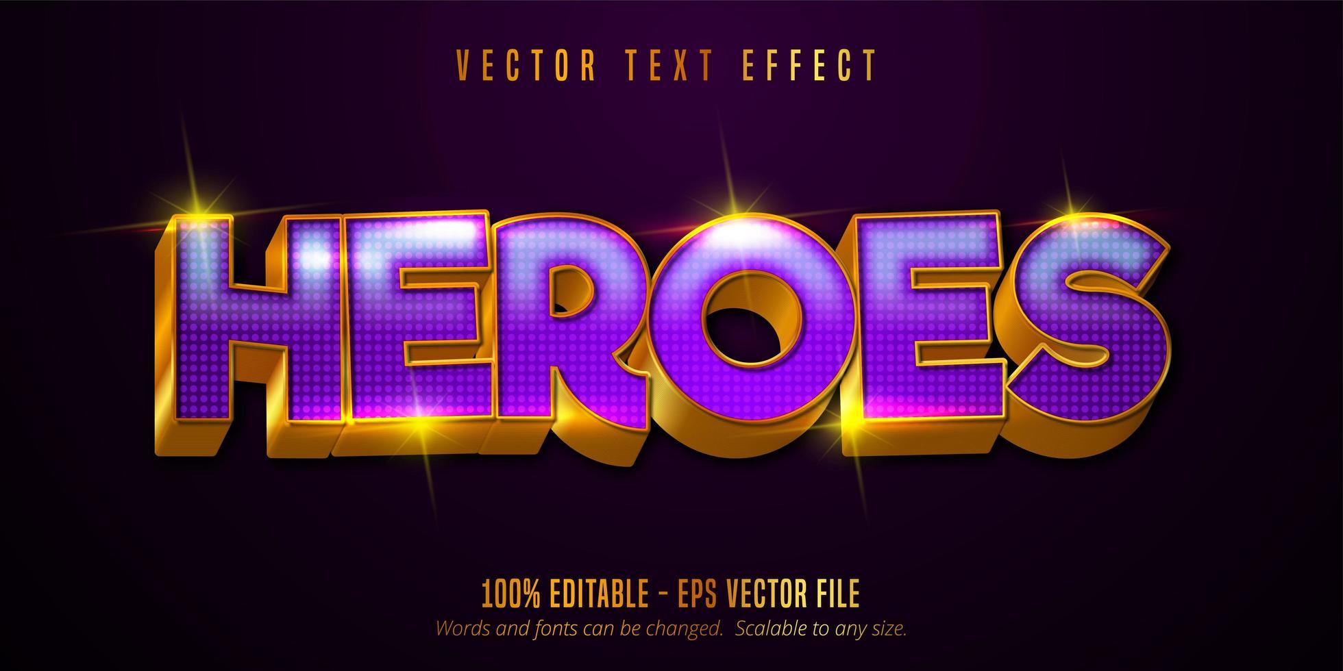 helden tekst, glanzend goud, paars stijl teksteffect vector