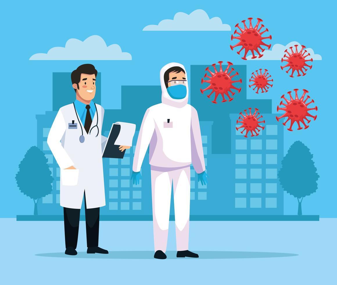 biologisch gevaarlijk schoonmaakpersoneel met covid19-deeltjes vector