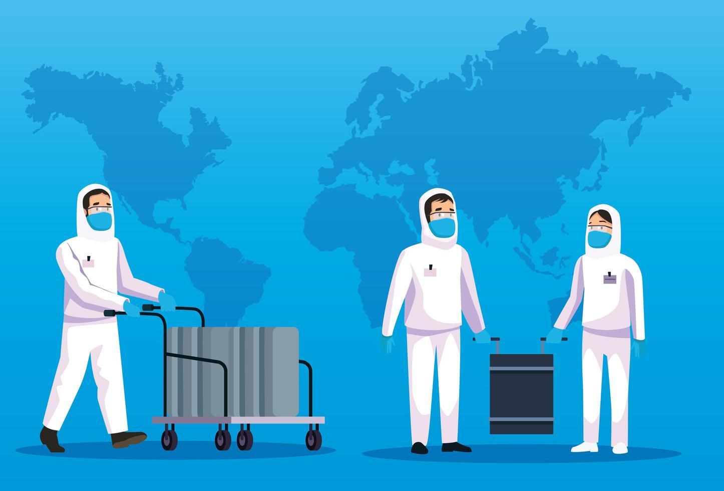 biohazard schoonmaken personen met wereldkaart vector