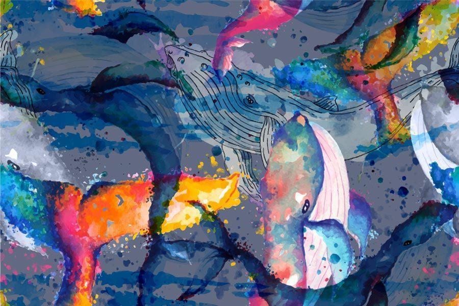 naadloze patroon walvissen in aquarel stijl vector