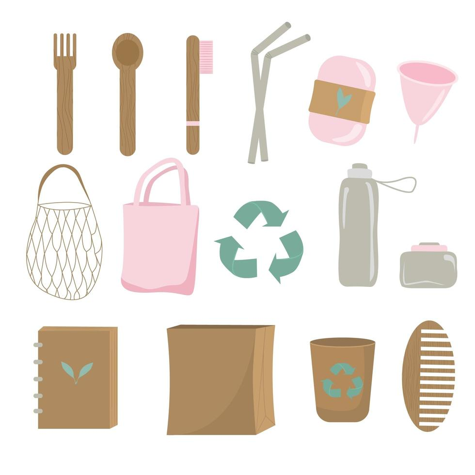 nul afval herbruikbare huishoudelijke artikelen set vector