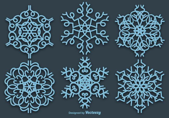Set Van 6 Vector Blauwe Sneeuwvlokken
