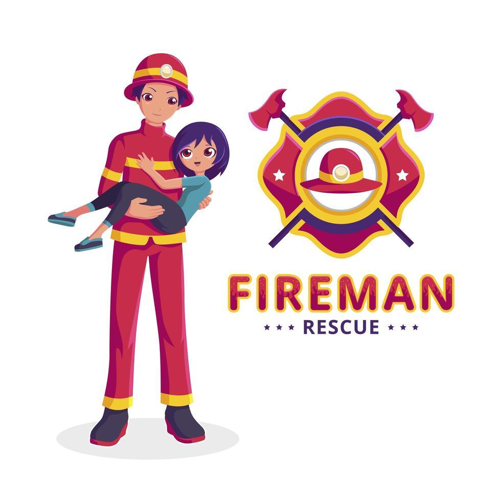 brandweerman redt een meisje vector