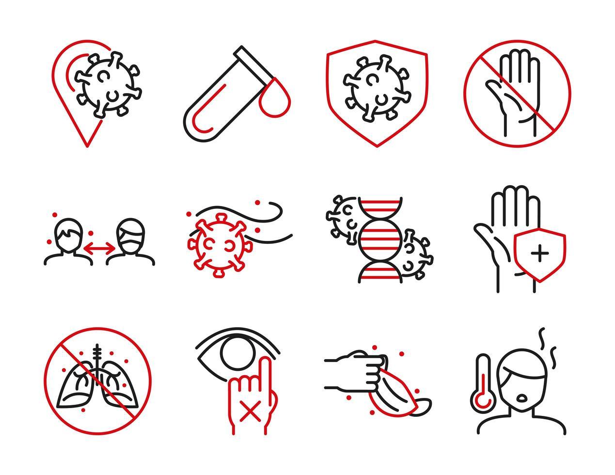 pakket van medische zorg en virale infectie bicolor pictogram pictogrammen vector