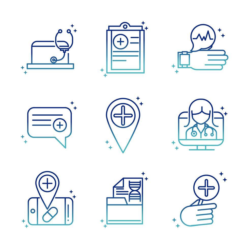 online pictogrammenverzameling voor gezondheid en medische hulp op verloopstijl vector