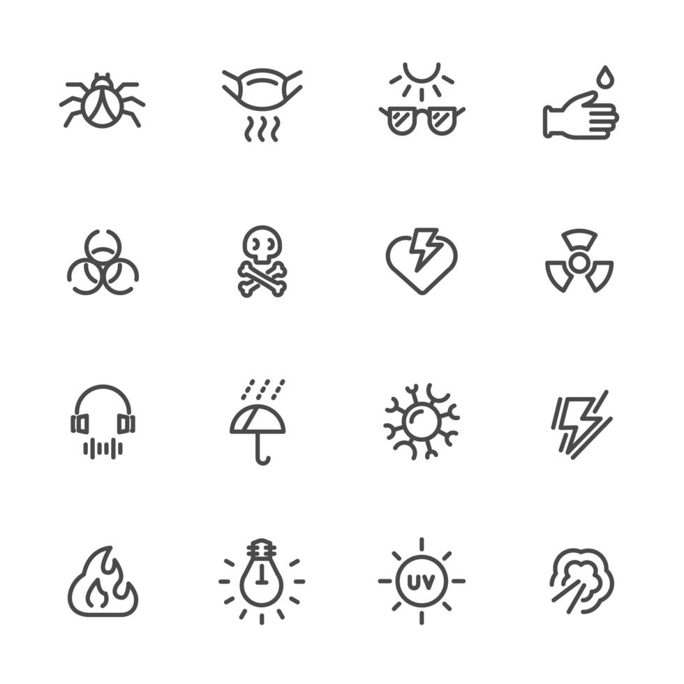 vervuiling en beschermende uitrusting icon set vector