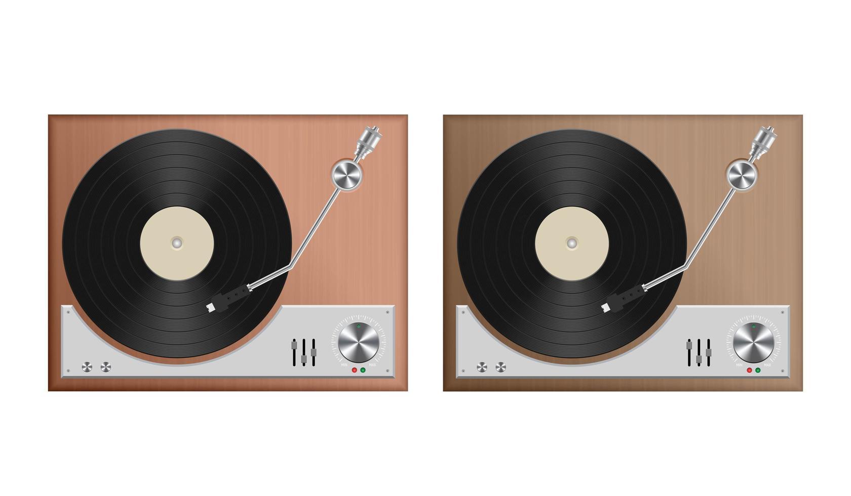 set vintage platenspeler vector