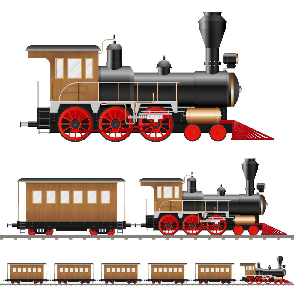 antieke stoomlocomotief en wagons geïsoleerd vector