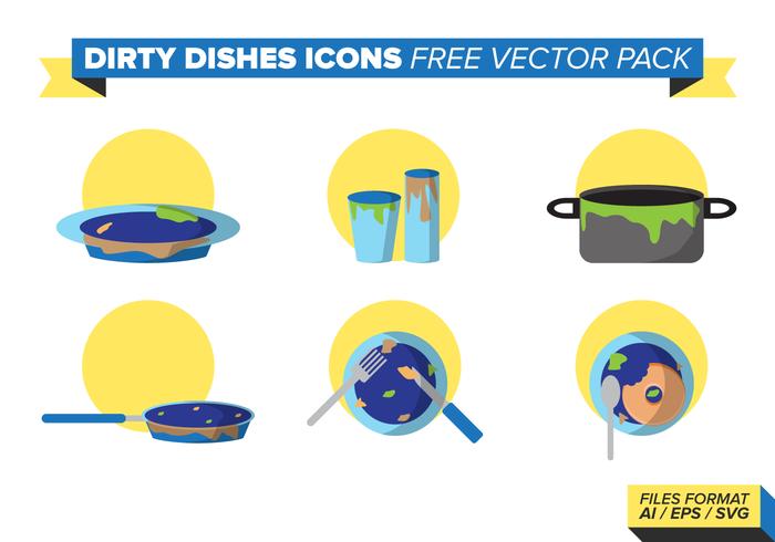 Vuile Dishes Pictogrammen Gratis Vector Pack
