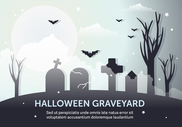 Donkere Halloween Graveyard Vector Illustratie