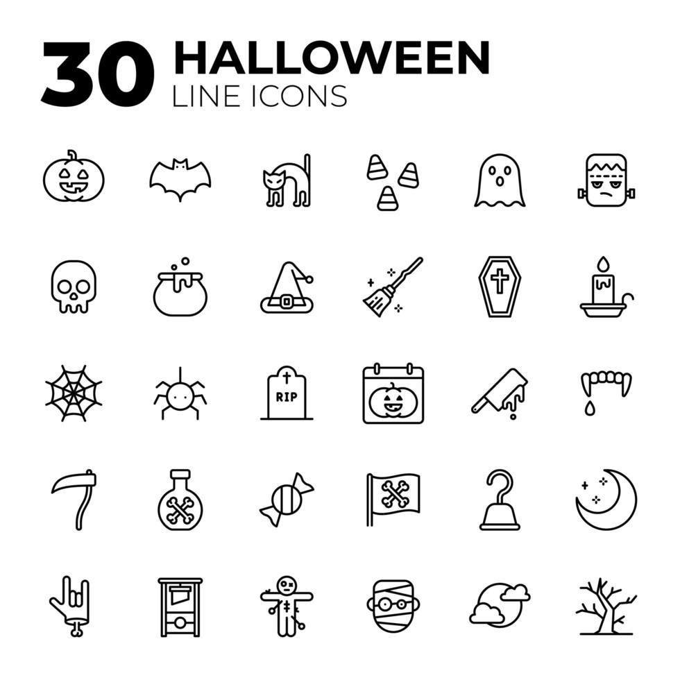 set van lijnstijl halloween iconen vector