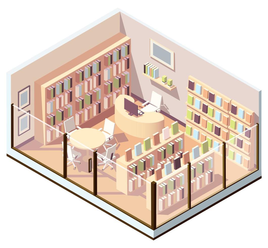 isometrisch interieur van boekhandel of bibliotheek vector