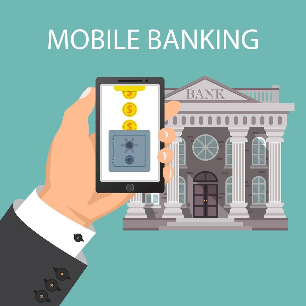 concept van mobiel bankieren met kluis en munten vector