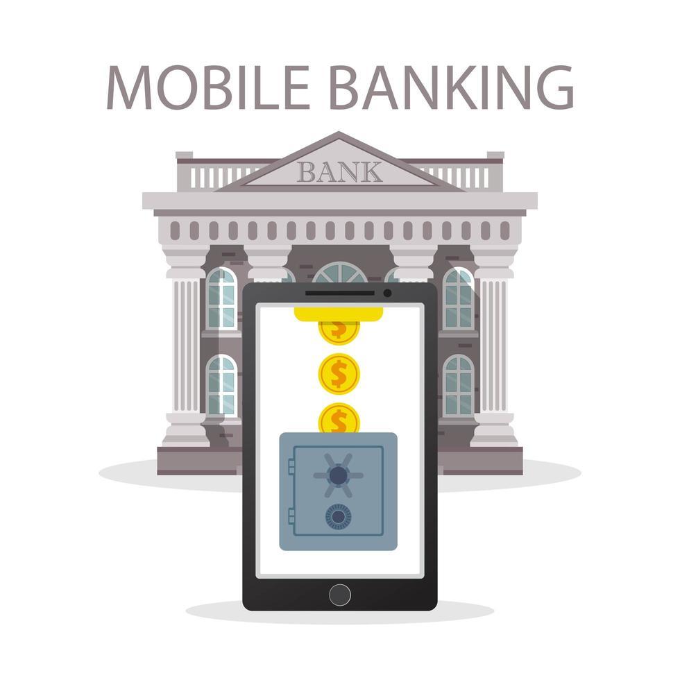 mobiel bankieren concept met munten en kluis vector