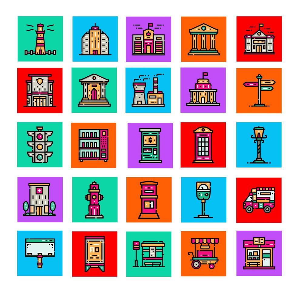stad element icoon collecties deel 1 vector