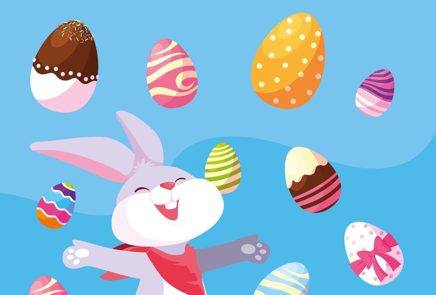 konijn met eieren van Pasen vector