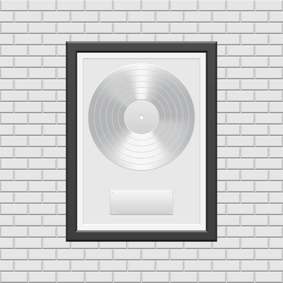 zilveren vinylplaat met zwart frame vector