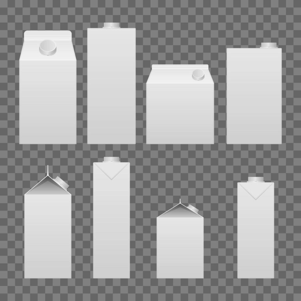 melk en sap pakket set vector