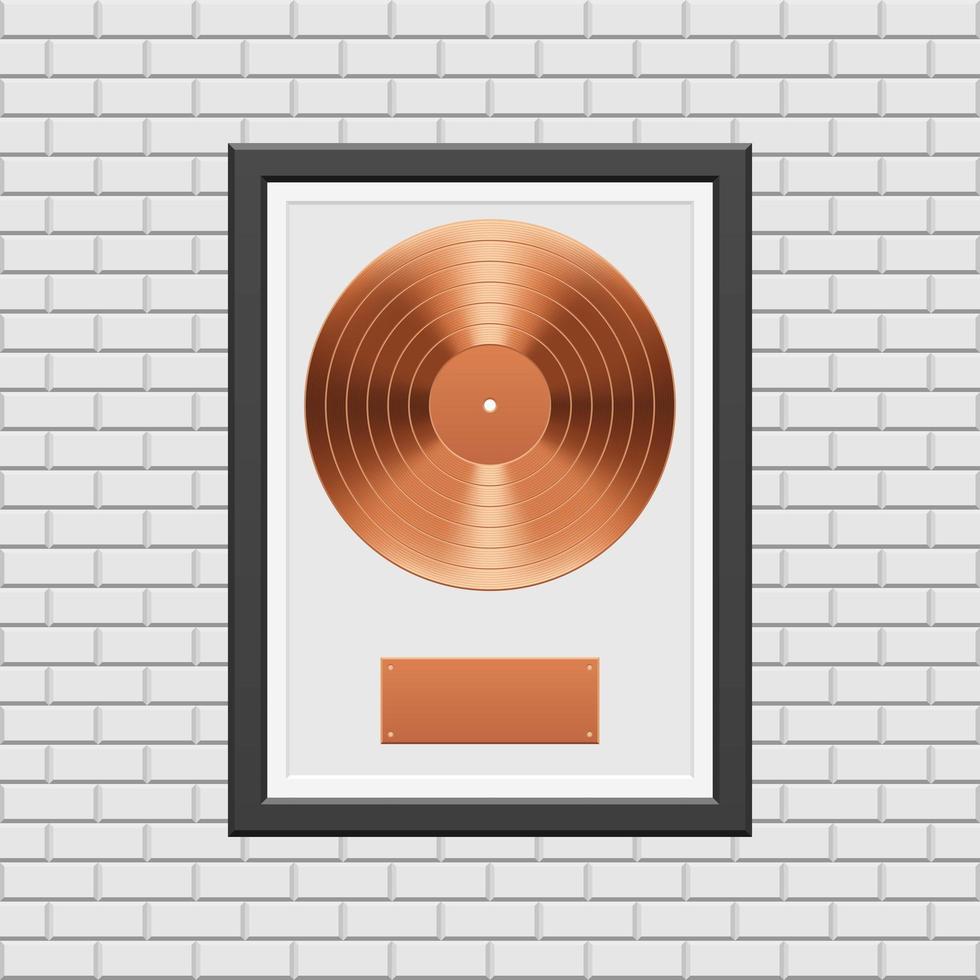 bronzen vinylplaat met zwart frame vector