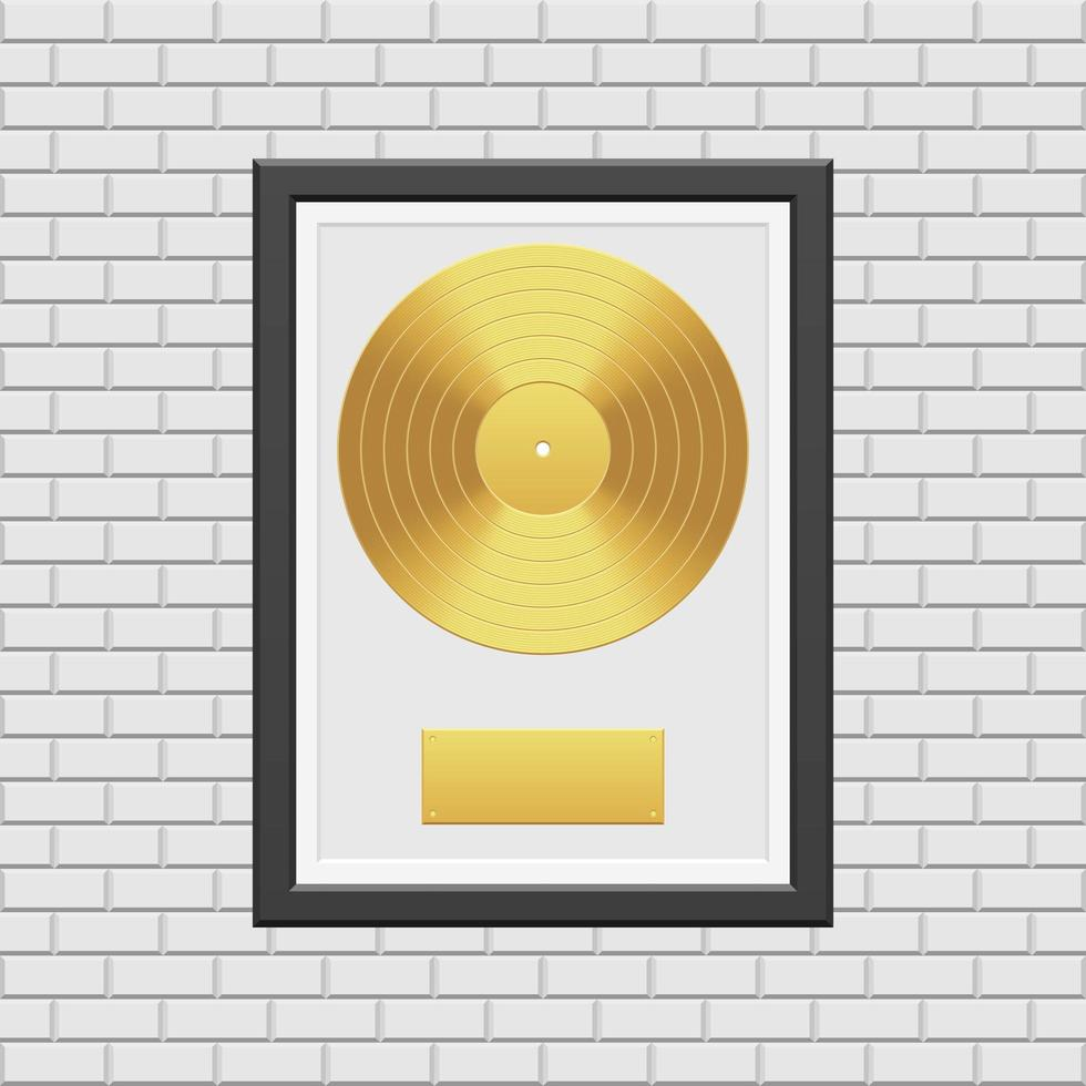 gouden vinylplaat met zwart frame vector