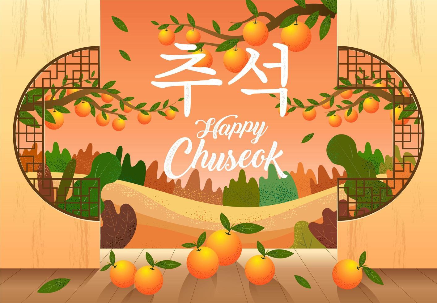gelukkig chuseokontwerp met sinaasappels en landschap vector