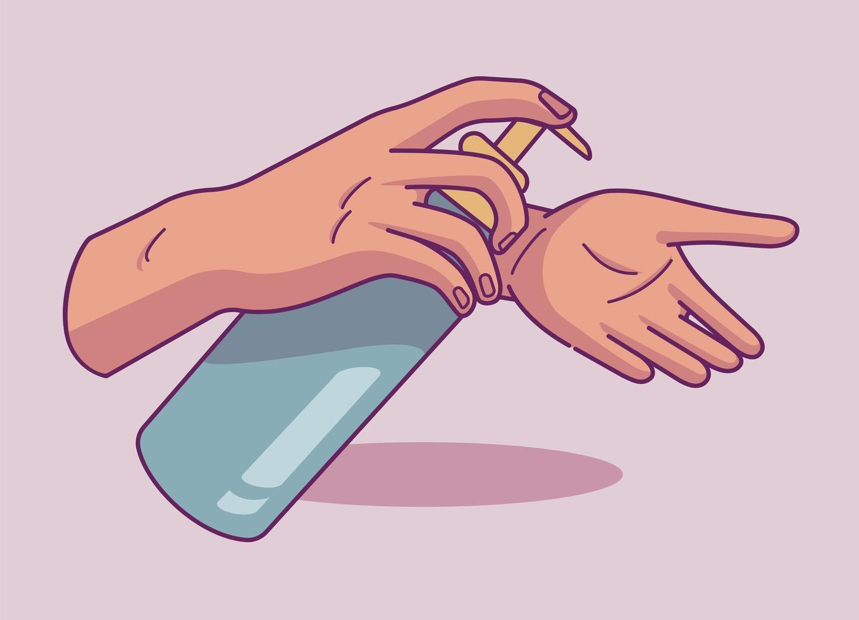 handbehandeling met antibacteriële gel in doodle-stijl vector