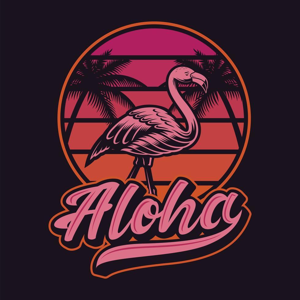 vintage zonsondergang flamingo en aloha t-shirt ontwerp vector