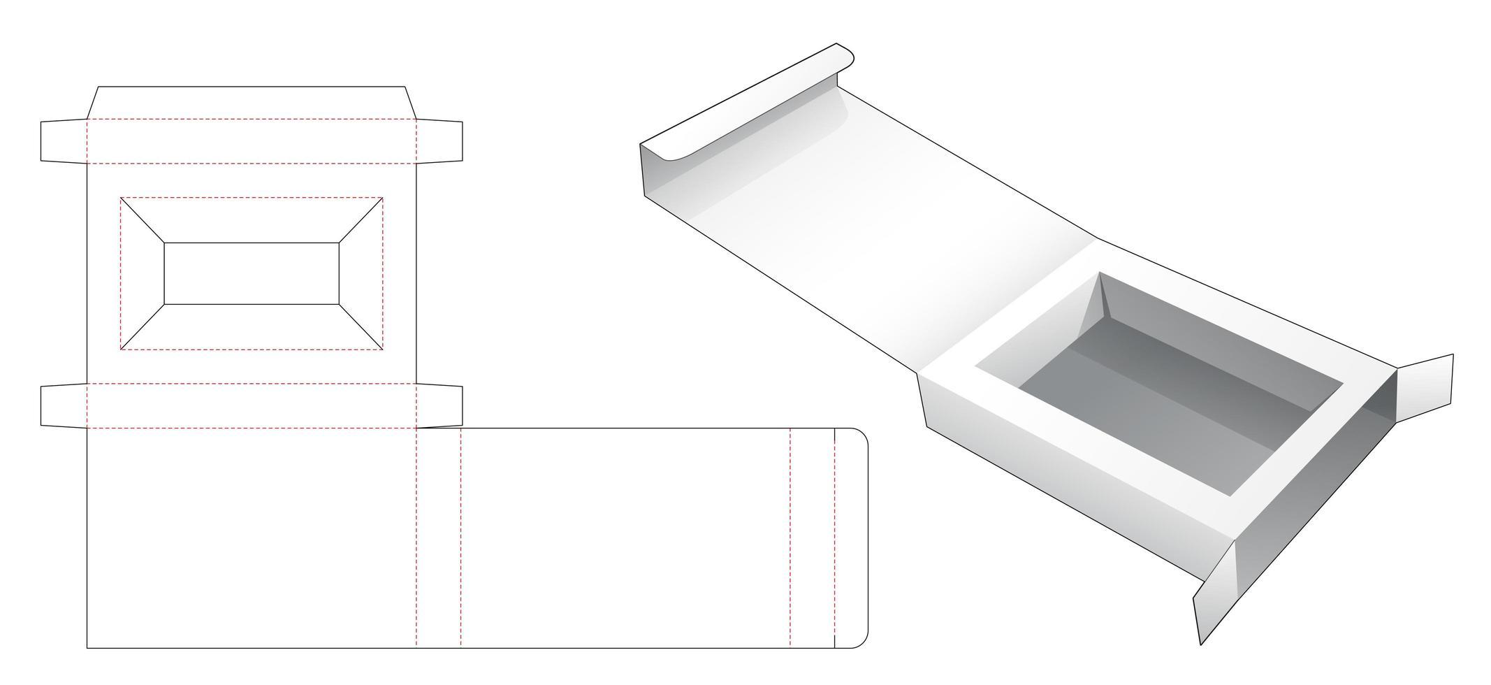 1-delige retailverpakkingsdoos met insteekdrager vector