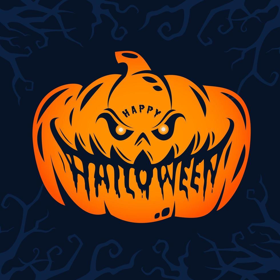 happy halloween pompoen hoofd ontwerp vector