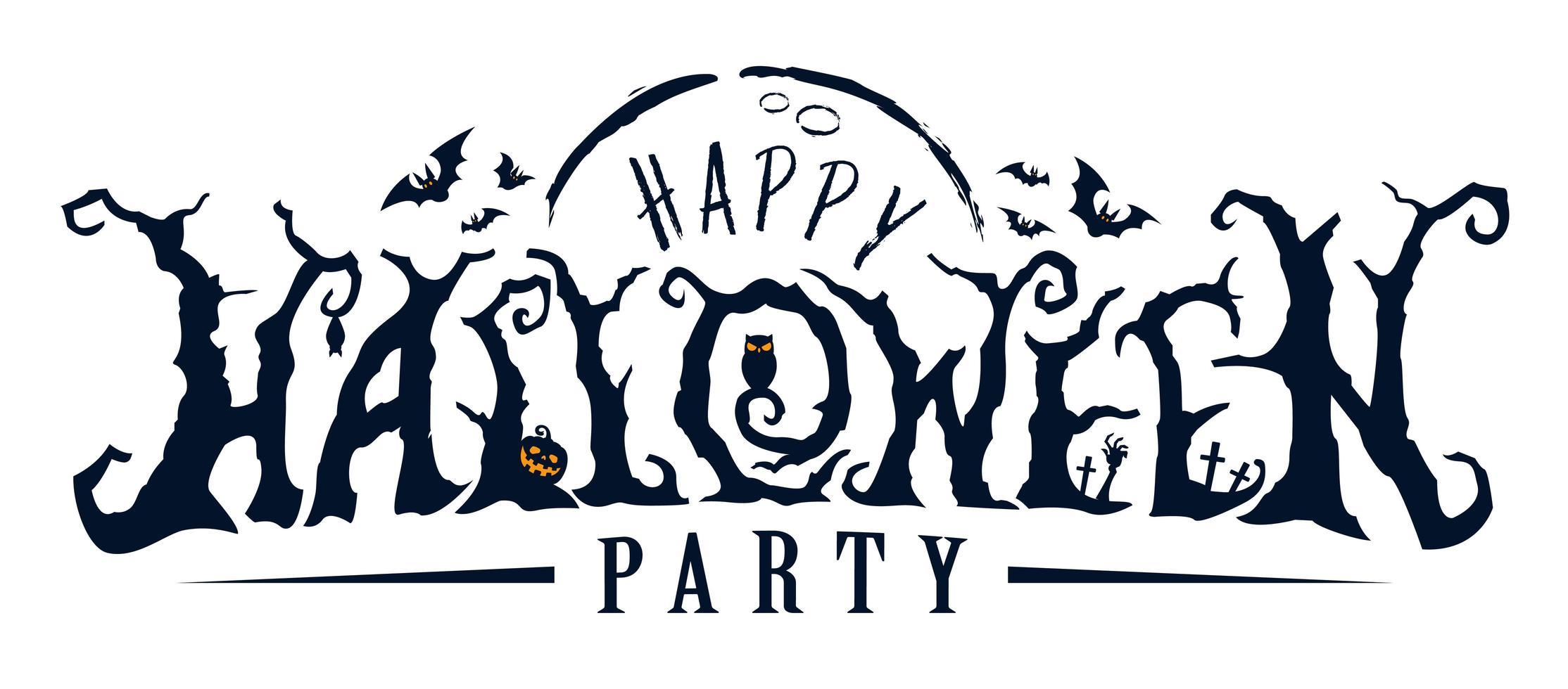 happy halloween party kerkhof tekst vector