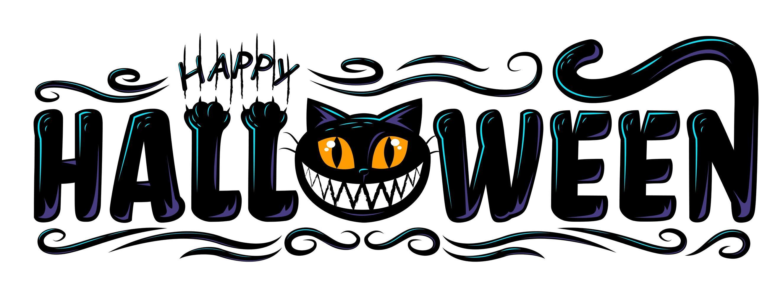zwarte kat happy halloween-tekst vector