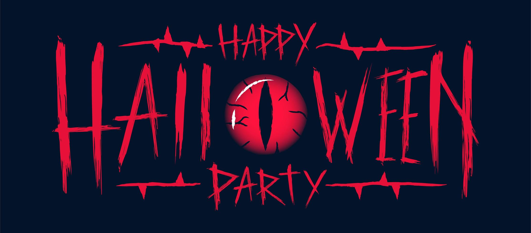 happy halloween party tekstontwerp met boze oog vector