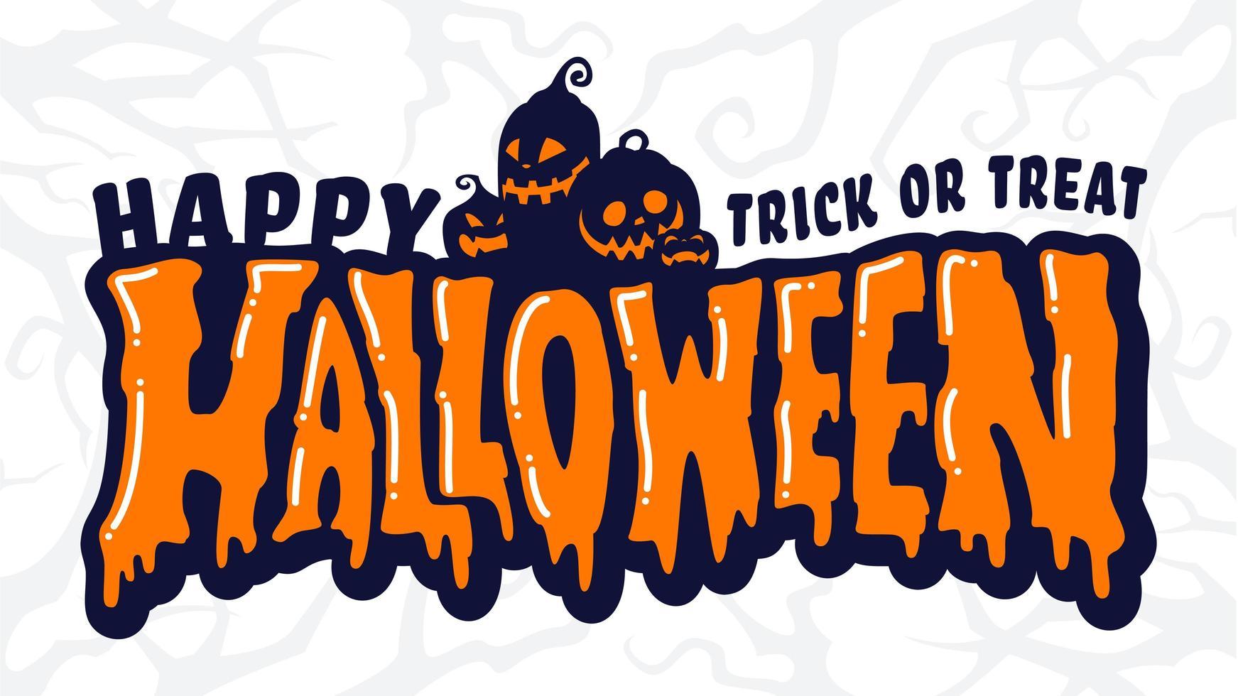 gelukkige halloween-tekstbanner met pompoenfamilie vector