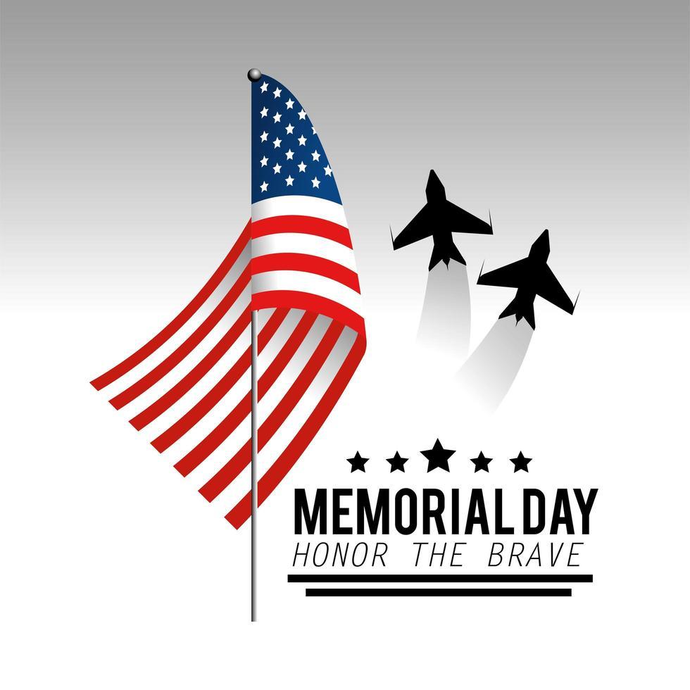 herdenkingsdag wenskaart met vliegtuigen en vlag vector
