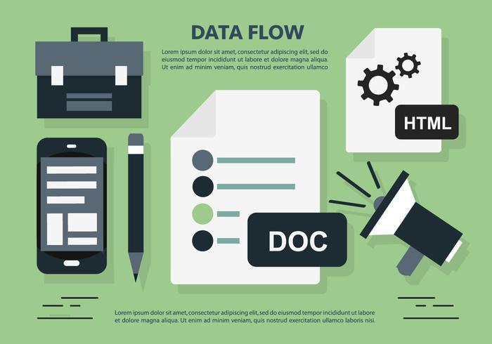 Data Flow Office Workplace Vector Illustratie