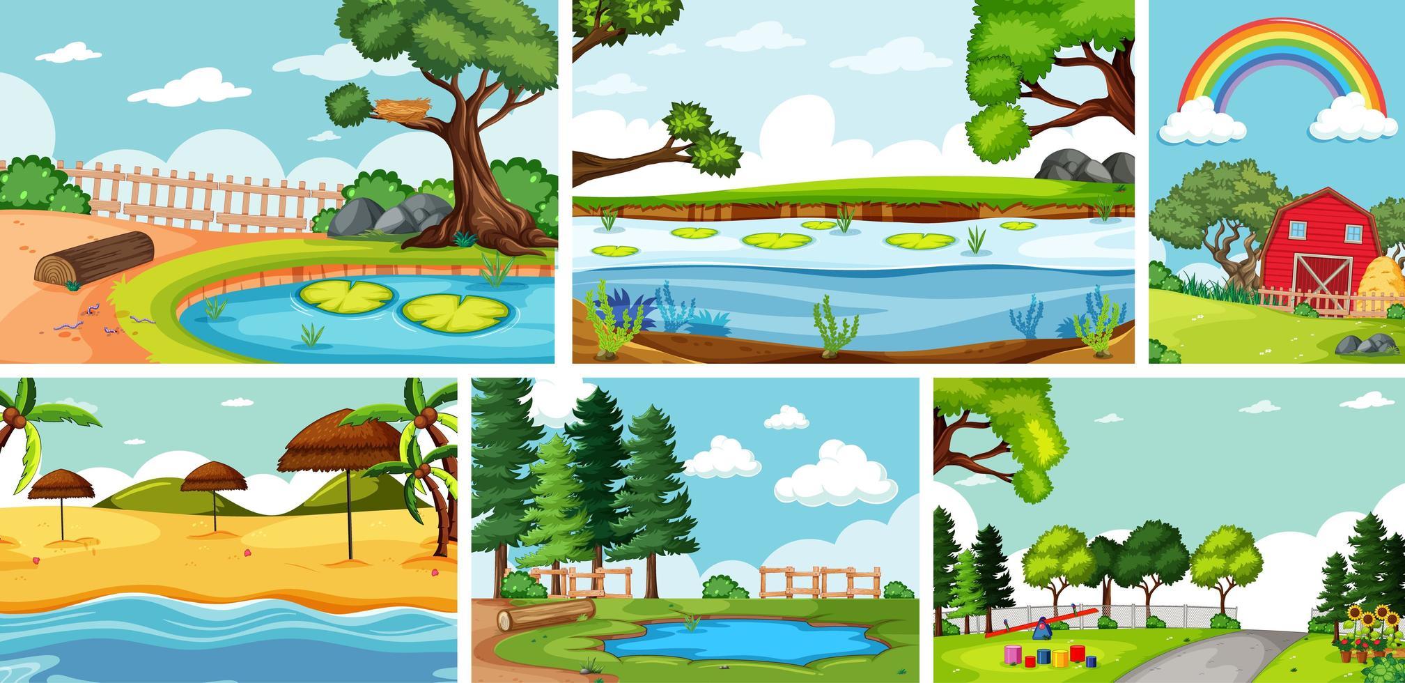 zes natuurtaferelen met verschillende locaties vector