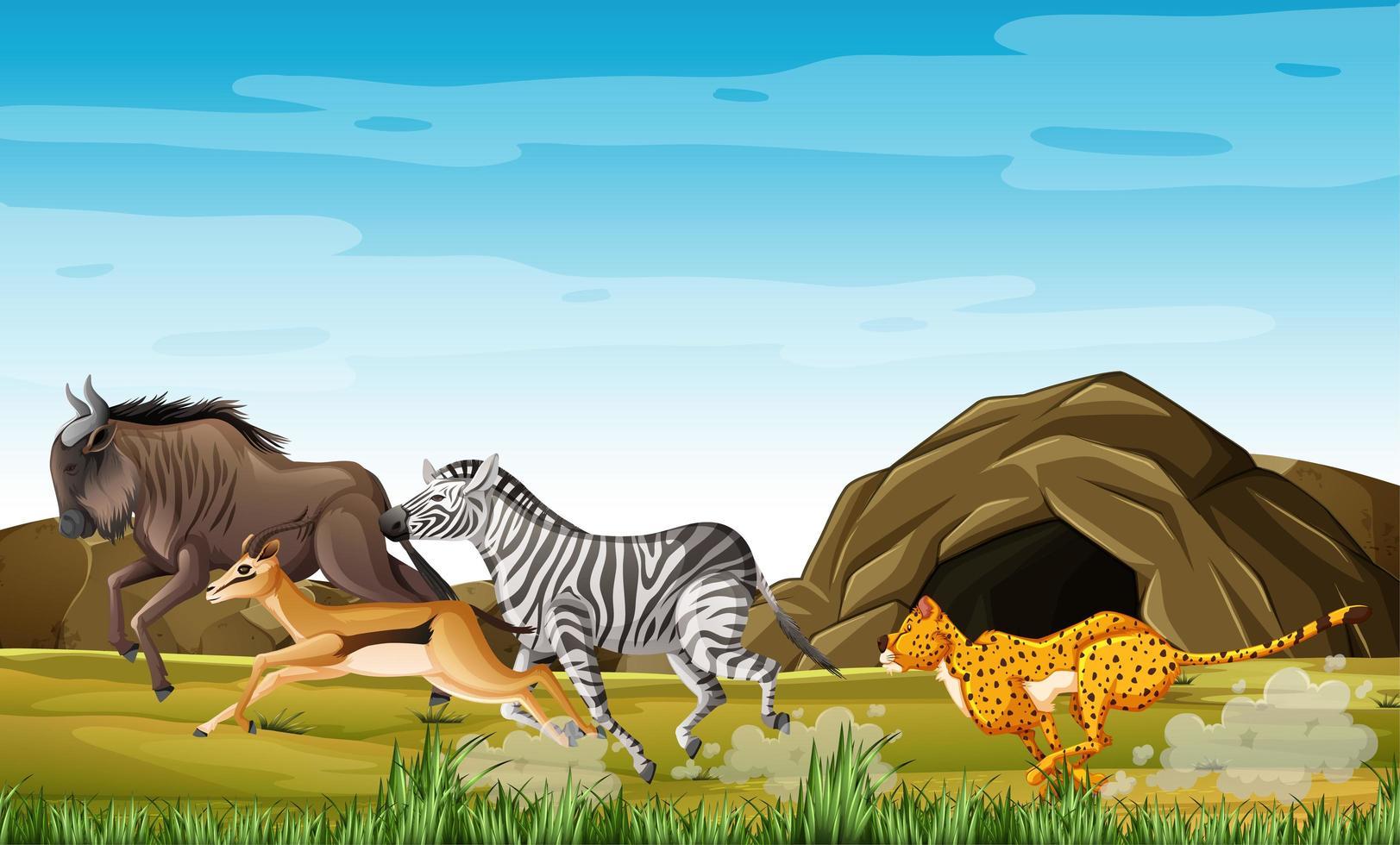 luipaardjacht op dieren vector