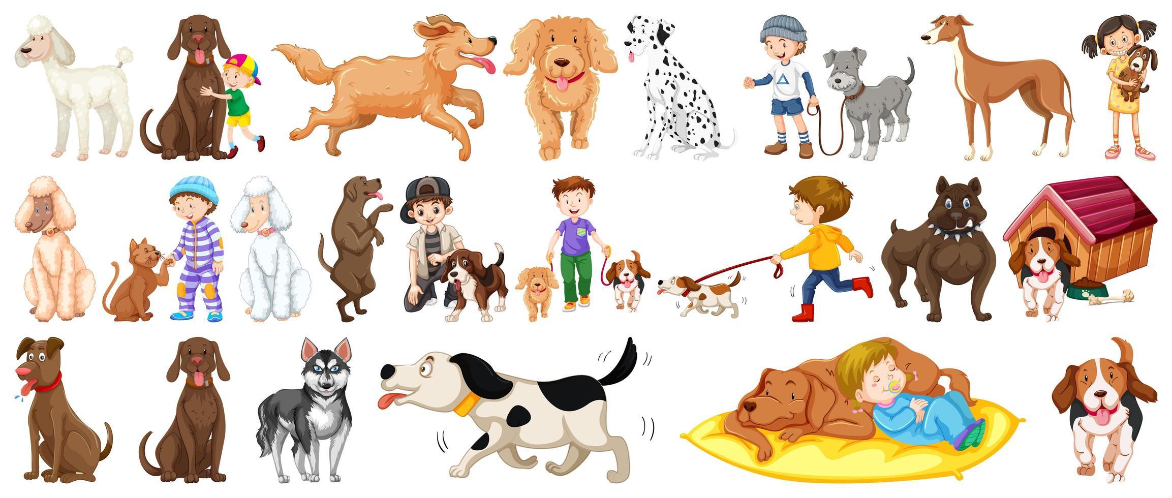 set van schattige honden vector