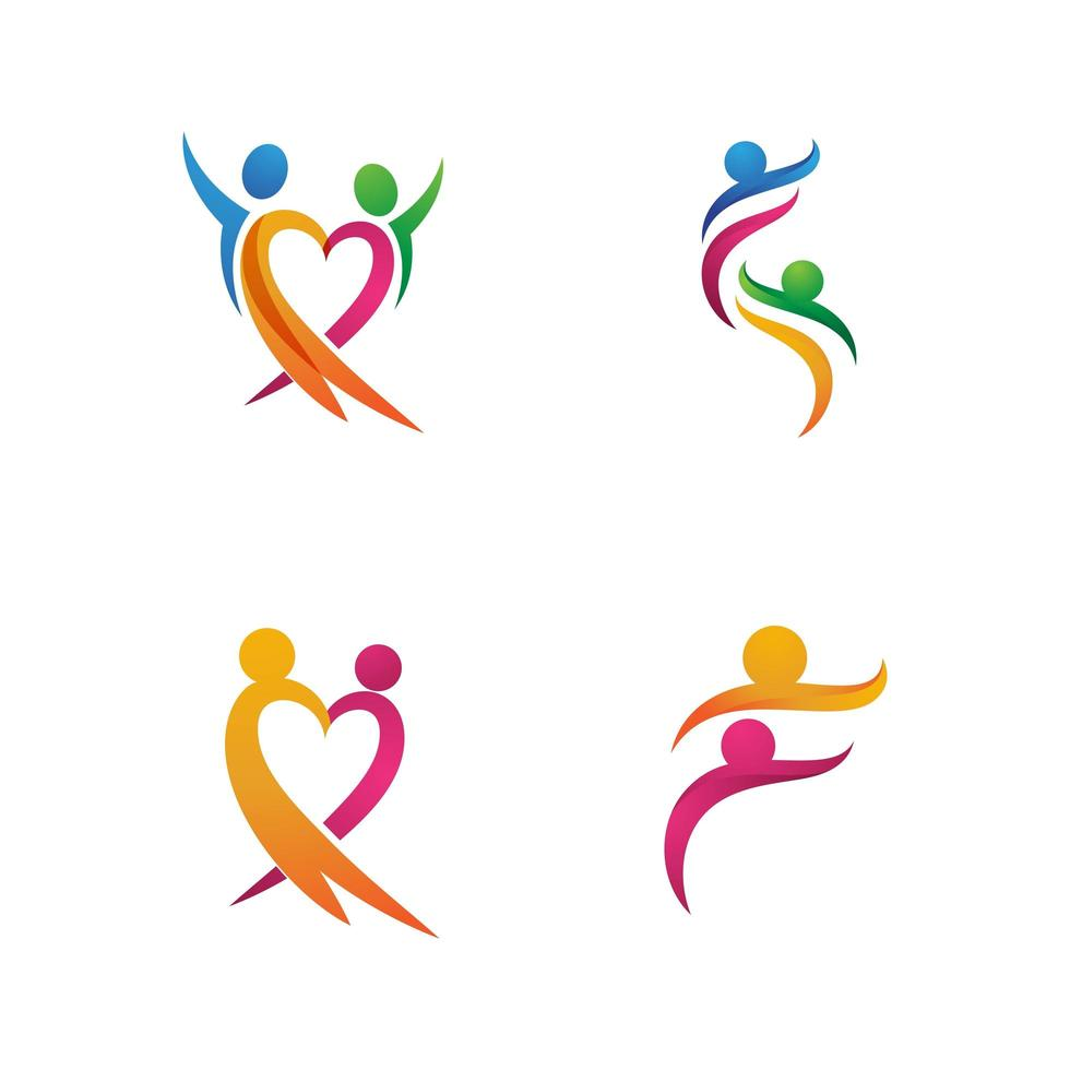 gemeenschapsnetwerk en sociaal pictogram logo set vector