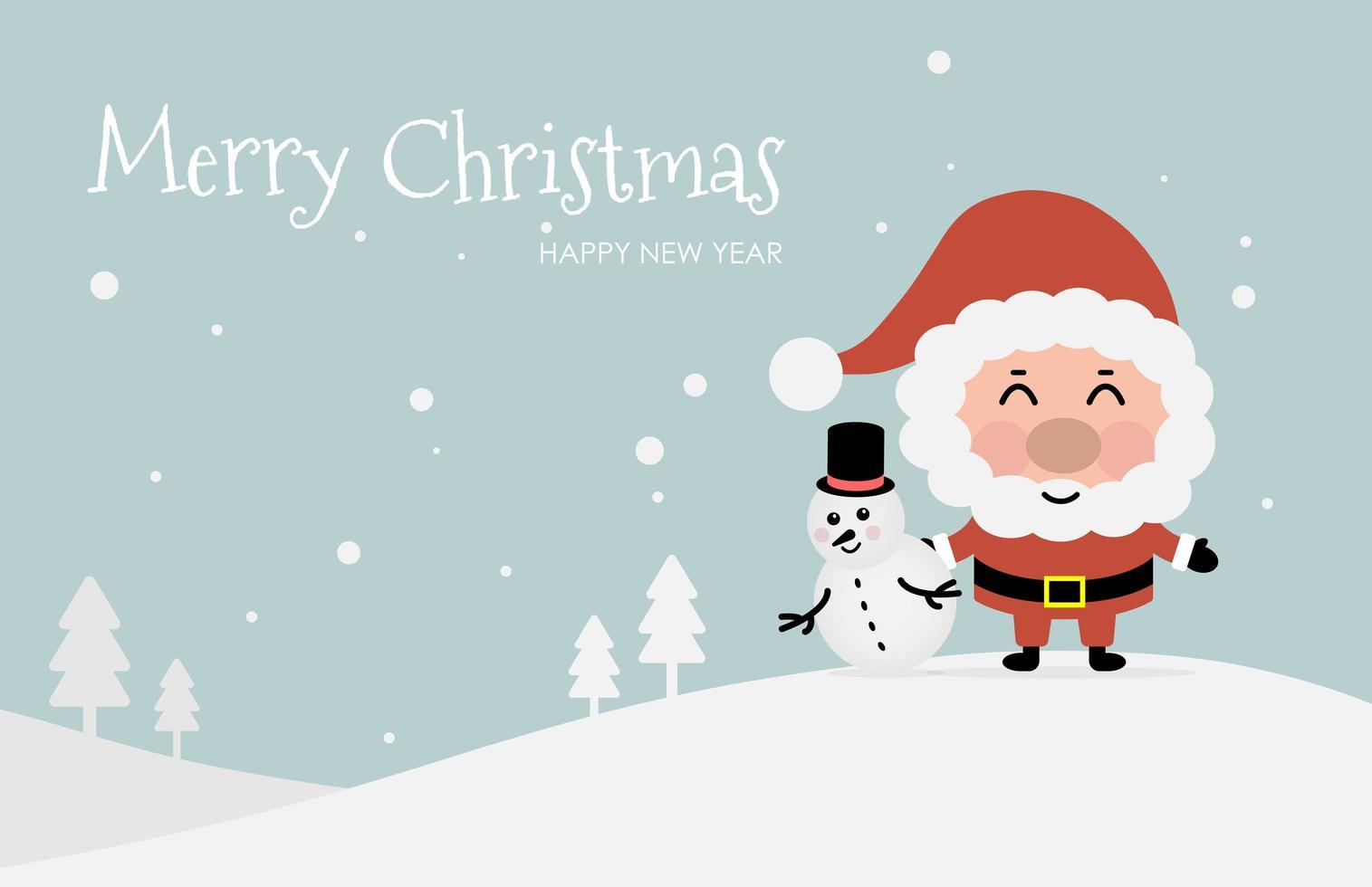 kerstontwerp met de kerstman en sneeuwman vector