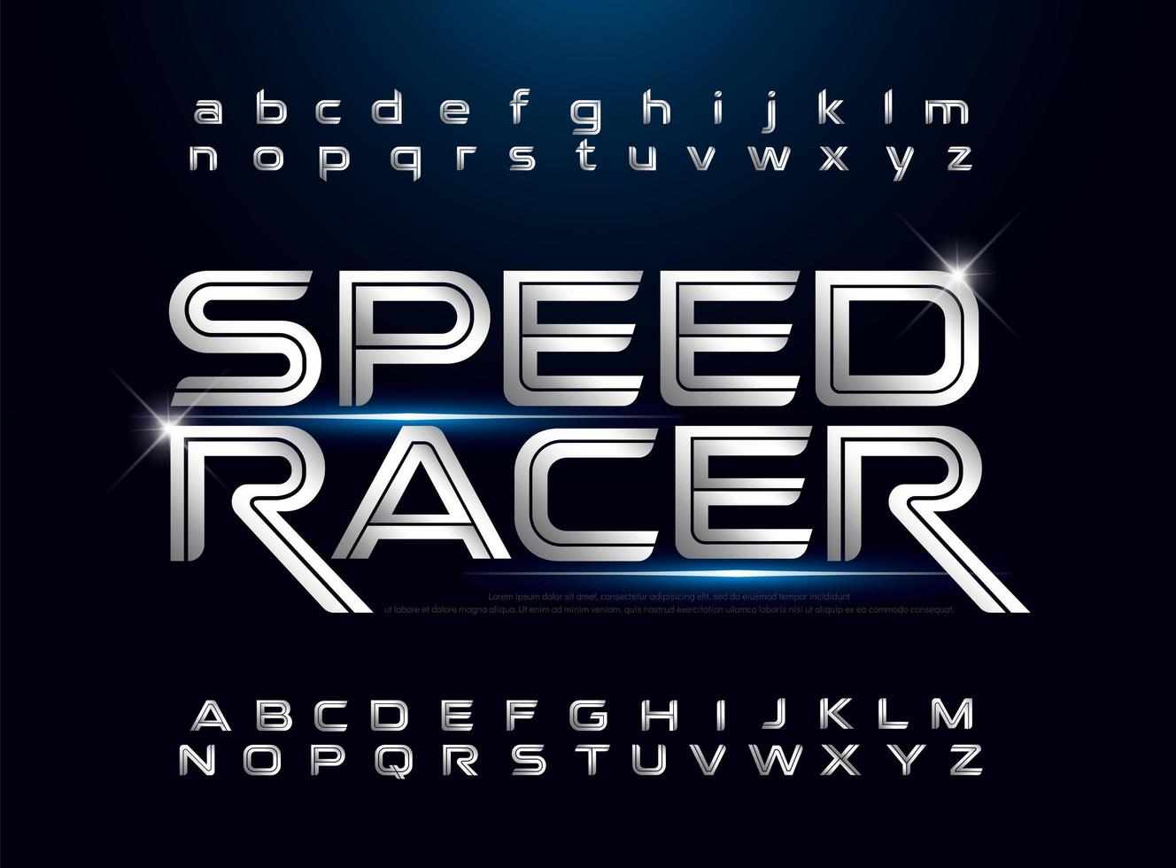 technologie zilver metallic retro alfabet set vector