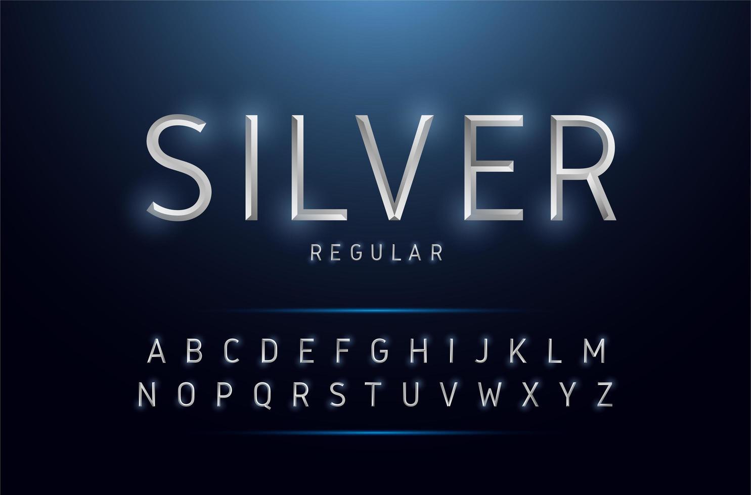 zilver metallic smal alfabet set vector