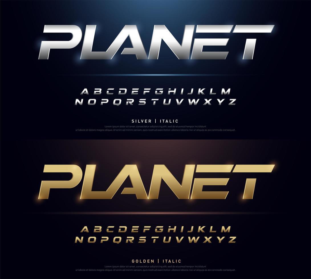 elegant zilver en goudkleurig metalen chromen alfabet lettertype vector