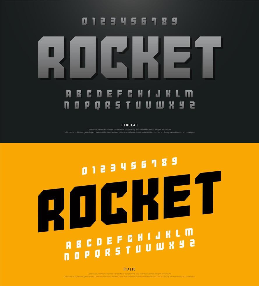 moderne vetgedrukte sportalfabet lettertype en typografie vector
