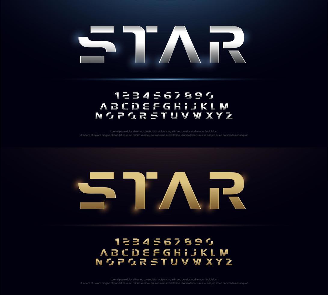 zilver en goud metalen futuristische alfabet lettertypeset vector