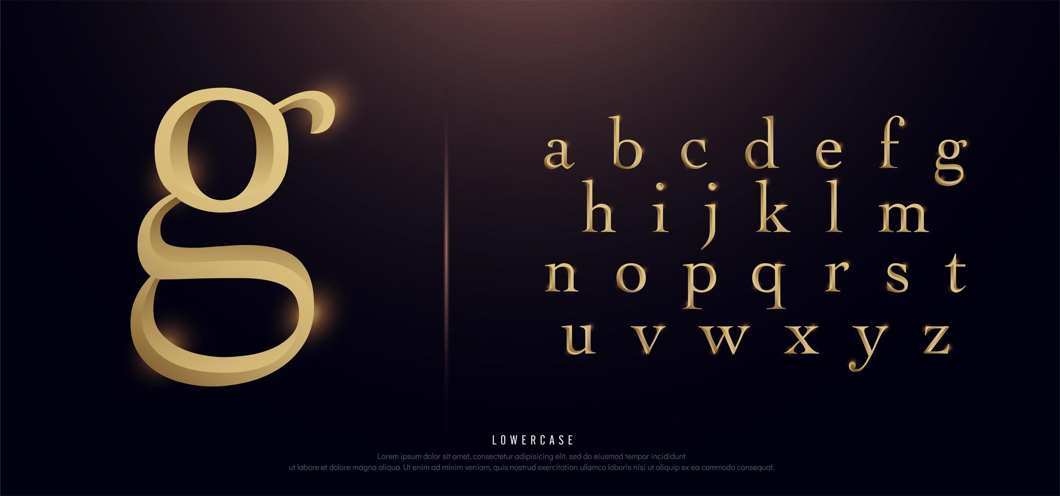 elegant gouden metalen kleine letters alfabet vector