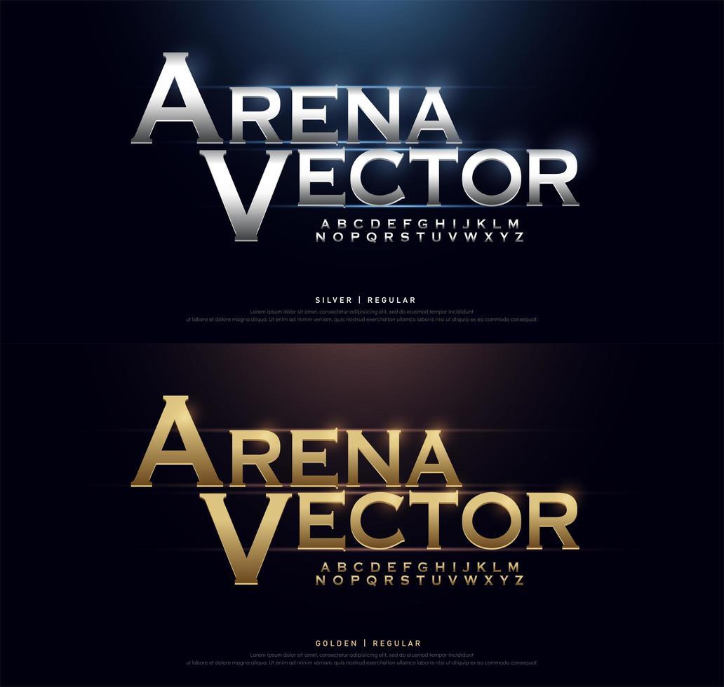 zilver en goud vet metallic alfabet lettertypeset vector