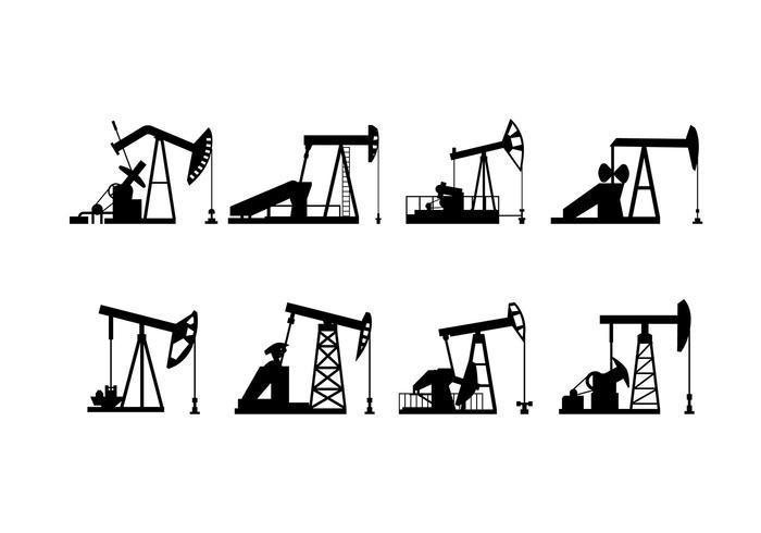 Vector silhouet van de olieveldpomp