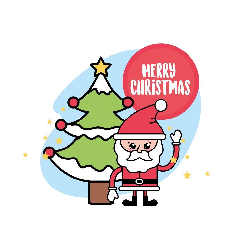 kerstman en kerst dennenboom wenskaart vector